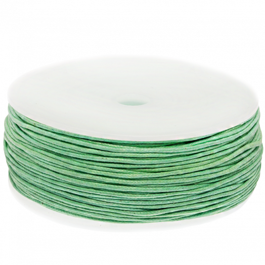 Waxed Cotton Cord (1 mm) Bright Mint Green (90 Meter)