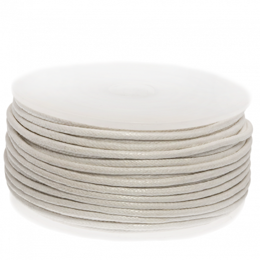 Waxed Cotton Cord (1.5 mm) White (25 Meter)