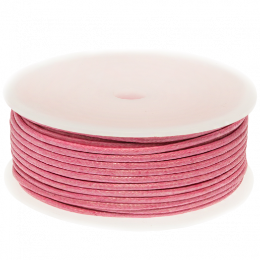 Waxed Cotton Cord (2 mm) Pink (25 Meter)