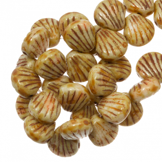 Shell Glass Beads 2 stringing holes (8 x 8 mm) Retro Brown (25 pcs)