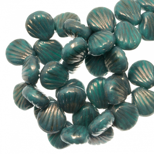Shell Glass Beads 2 stringing holes (8 x 8 mm) Teal (25 pcs)