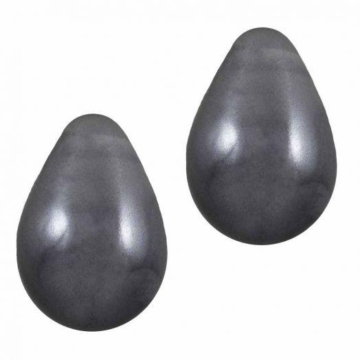 DQ Glass Pearls Drop (9 x 6 mm) Dark Grey (20 pcs)