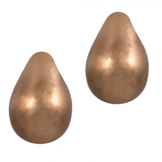 DQ Glass Pearls Drop (9 x 6 mm) Bronze (20 pcs)