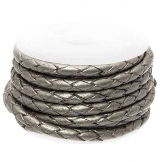 DQ Braided Leather Metallic (3 mm) Grey (2.5 Meter)
