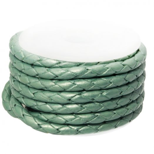 DQ Braided Leather Metallic (3 mm) Mint Green (2.5 Meter)
