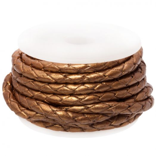 DQ Braided Leather Metallic (3 mm) Brown (2.5 Meter)