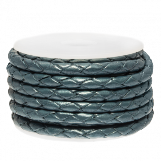DQ Braided Leather Metallic (3 mm) Faded Denim (2.5 Meter)