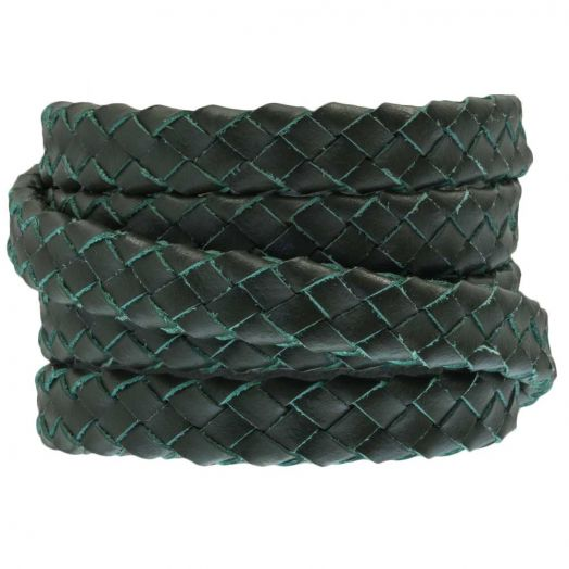 Oval Braided DQ Leather (10 x 3 mm) Pine Green (1 meter)