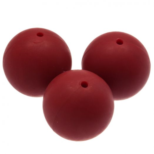 Silicone Beads (18 mm) Red Rose (5 pcs)