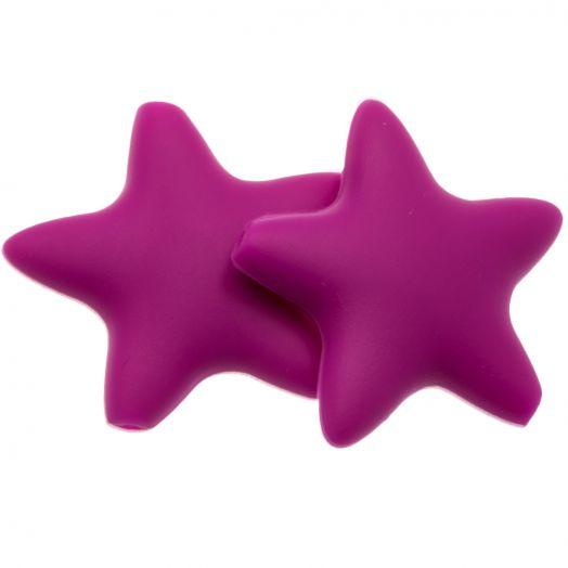 Silicone Beads Stern (36 mm) Fuchsia (2 pcs)