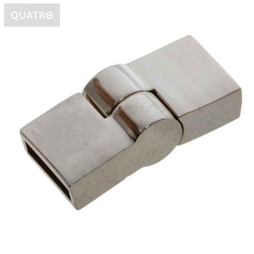 Magnetic Clasps (hole size 10 x 2 mm) Antique Silver (1 pcs)