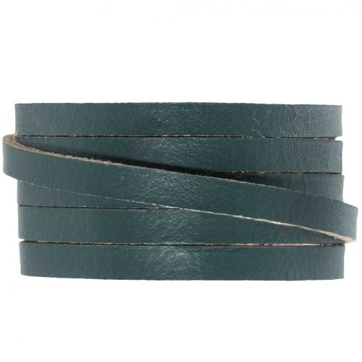 DQ Flat Leather (5 x 2mm) Grey Green (1 Meter)