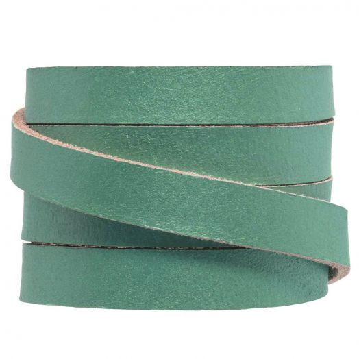 DQ Flat Leather (10 x 2 mm) Teal Metallic (1 Meter)