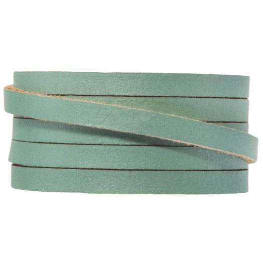 DQ Flat Leather (5 x 2 mm) Teal Metallic (1 Meter)