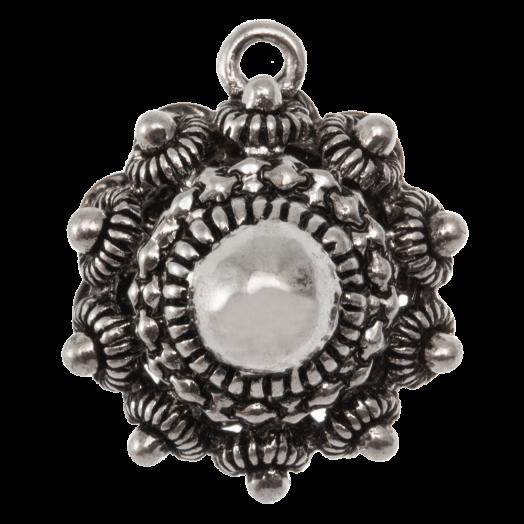 Traditional Button Charm (22 mm) Antique Silver (2 pcs)