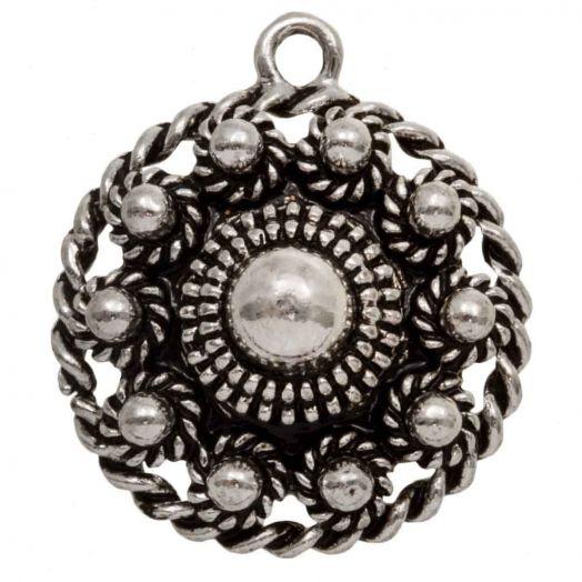 Traditional Button Pendant (28 mm) Antique Silver (1 pcs)