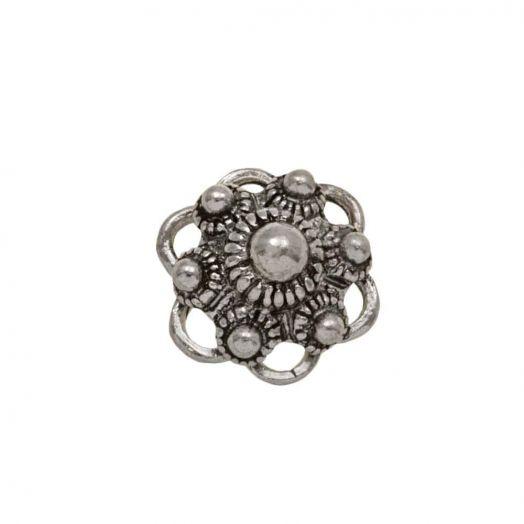 Traditional Button Cabochon (13 mm) Antique Silver (5 pcs)