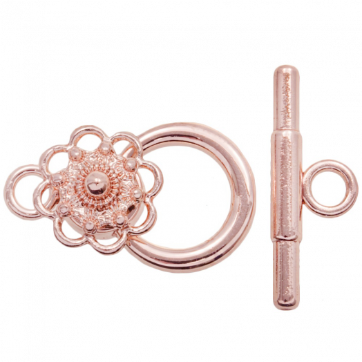 Traditional Button Toggle Clasps (outside size 22 mm inside size 10 mm) Rose Gold (5 pcs)