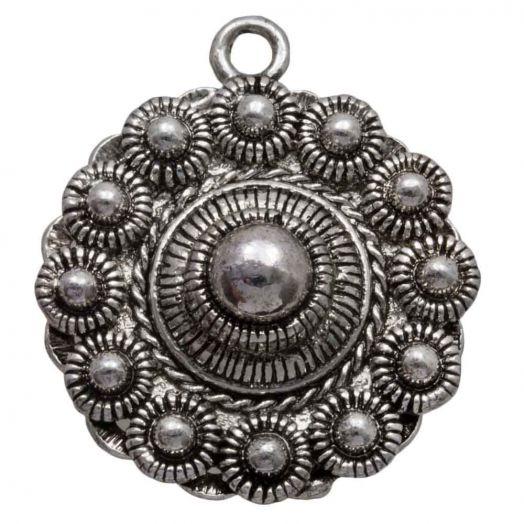 Traditional Button Charm (30 mm) Antique Silver (2 pcs)