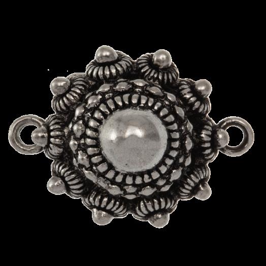 Traditional Button Connectors 2 Eyes (25 mm) Antique Silver (2 pcs)