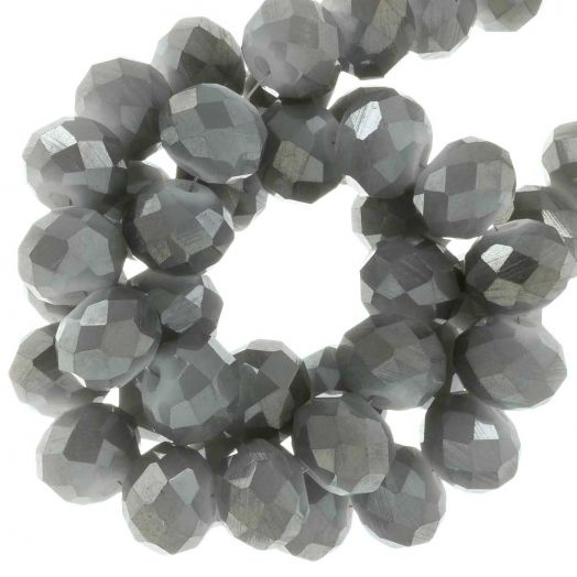 Electroplated Faceted Beads (8 x 6 mm) Steel Pebble (65 pcs)