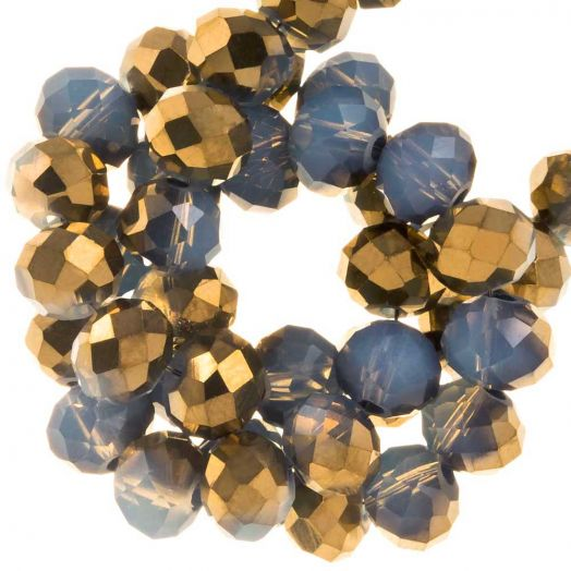 Electroplated Faceted Beads Rondell (6 x 5 mm) Gold Blue (95 pcs)
