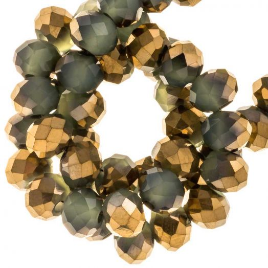 Electroplated Faceted Beads Rondell (6 x 5 mm) Gold Green Sage (95 pcs)