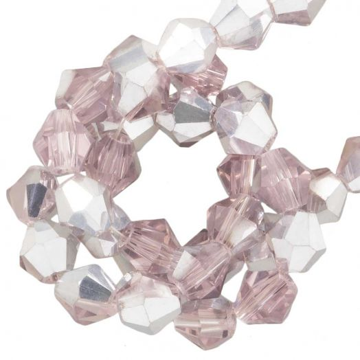Faceted Beads Bicone (4 mm) Pink Silver Shine (110  pcs)