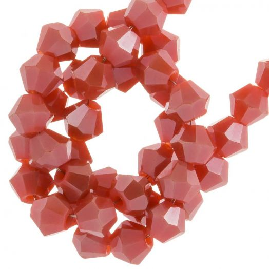 Faceted Beads Bicone (4 mm) Blush Red (110  pcs)
