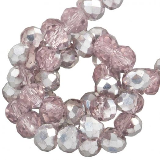 Faceted Beads Rondell (2 x 3 mm) Pink Silver Shine (150 pcs)