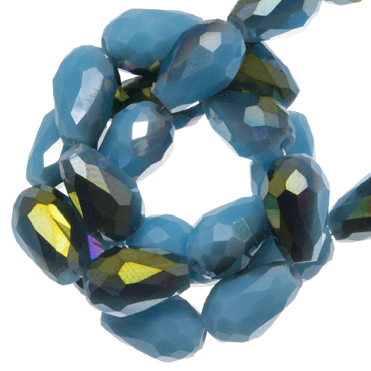Faceted Beads Drop (5 x 7 mm) Blue Shine (70 pcs)