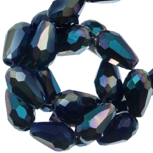 Faceted Beads Drop (5 x 7 mm) Dark Blue Shine (70 pcs)