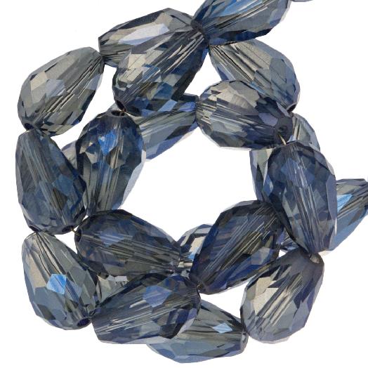 Faceted Beads Drop (8 x 11 mm) Transparent Blue Shine (60 pcs)