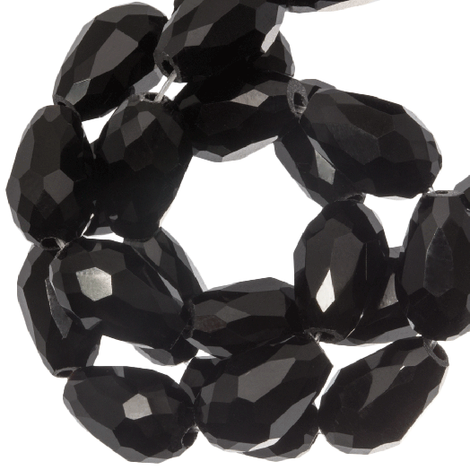 Faceted Beads Drop (8 x 11 mm) Black Shine (60 pcs)