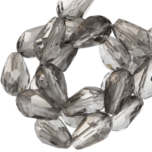 Faceted Beads Drop (5 x 7 mm) Transparent Grey Shine (70 pcs)