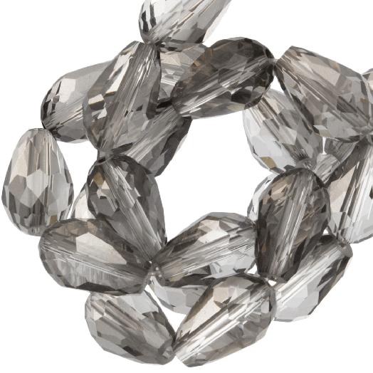 Faceted Beads Drop (8 x 11 mm) Transparent Grey Shine (60 pcs)