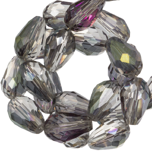 Faceted Beads Drop (8 x 11 mm) Transparent Grey Rainbow Shine (60 pcs)