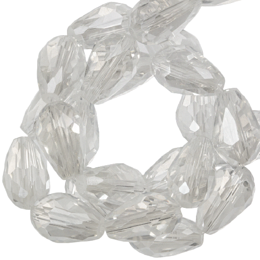 Faceted Beads Drop (8 x 11 mm) Transparent White Shine (60 pcs)