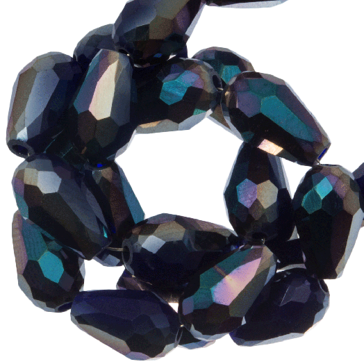 Faceted Beads Drop (8 x 11 mm) Dark Blue Shine (60 pcs)