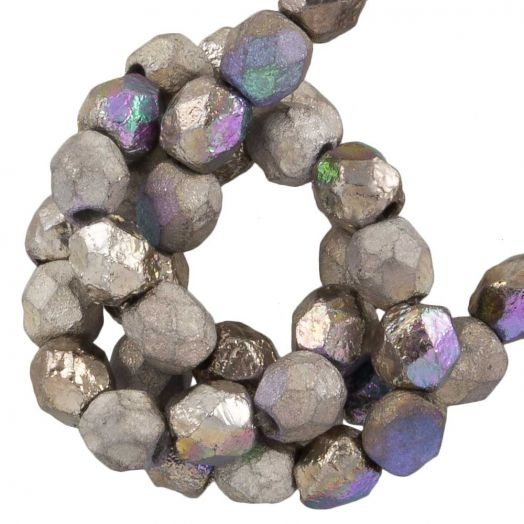 DQ Fire Polished Beads (4 mm) Glittery Argentic (50 pcs)