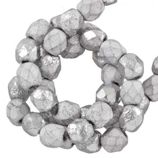 DQ Fire Polished Beads (4 mm) Silver (50 pcs)