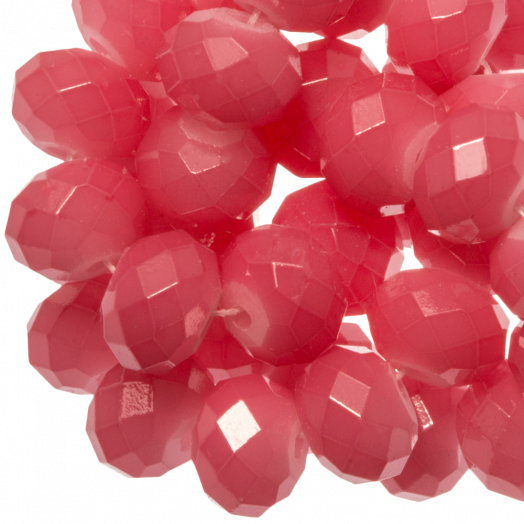 Faceted Beads Rondell (8 x 6 mm) Bright Blush Pink (72 pcs)