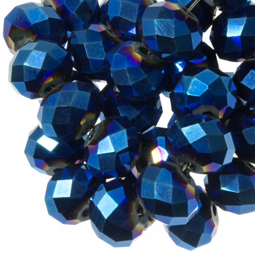 Faceted Beads Rondell (8 x 6 mm) Blue Shine (72 pcs)
