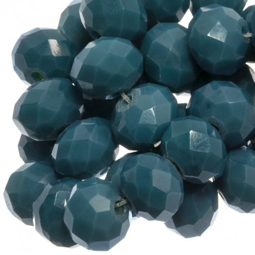 Faceted Beads Rondell (8 x 6 mm) Petrol (72 pcs)