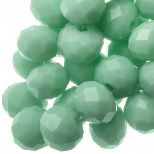 Faceted Beads Rondell (8 x 6 mm) Clear Mint Green (72 pcs)