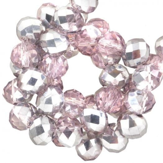 Faceted Beads Rondell (6 x 4 mm) Pink Silver Shine (95 pcs)