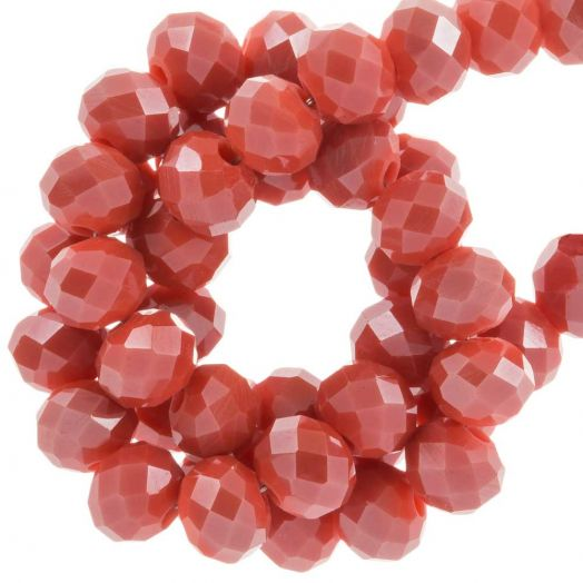 Faceted Beads Rondell (6 x 4 mm) Blush Red (95 pcs)