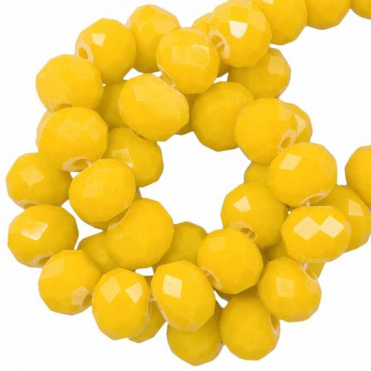 Faceted Beads Rondell (6 x 4 mm) Mustard Yellow (95 pcs)