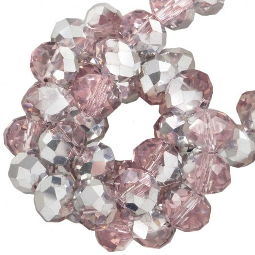 Faceted Beads Rondell (8 x 6 mm) Pink Silver Shine (72 pcs)