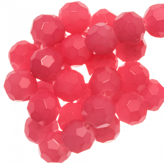 Faceted Beads Round (6 mm) Bright Blush Pink (100 pcs)